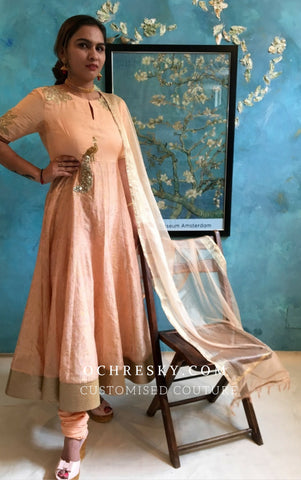 Peach Chanderi kurta set:OSsu0916A