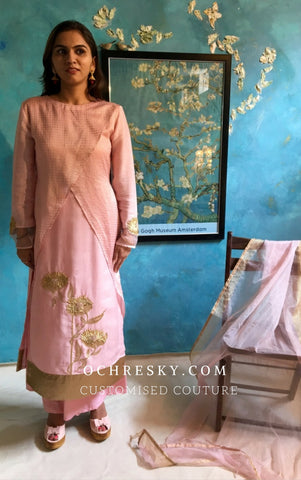 Cotton Candy Pink Chanderi kurta set:OSsu0916C