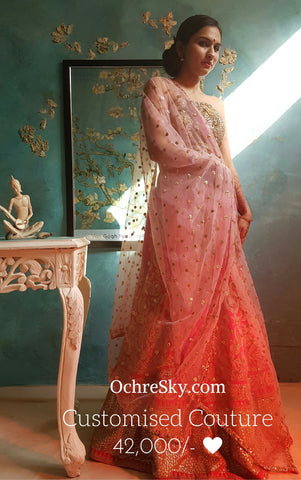 Draupadi : Fuschia raw silk lehnga with powder pink corset and dupatta