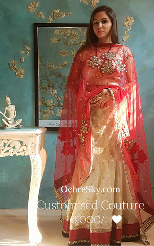 Gold organza lehnga with red dupatta