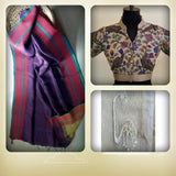 Linen Saree: Purple with and Sunglow pallav:OSsr40 (SOLD OUT)