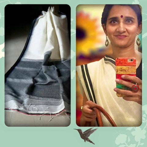 Linen saree: cream and black: OSsr38 (SOLD OUT)