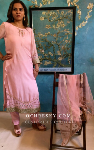 Cotton Candy Pink Flat Chiffon Straight Suit set:OSsu0917A.