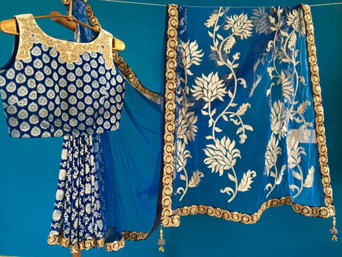 Blue  Georgette Banarasi Saree with Net Pallu and Blue Georgette Blouse