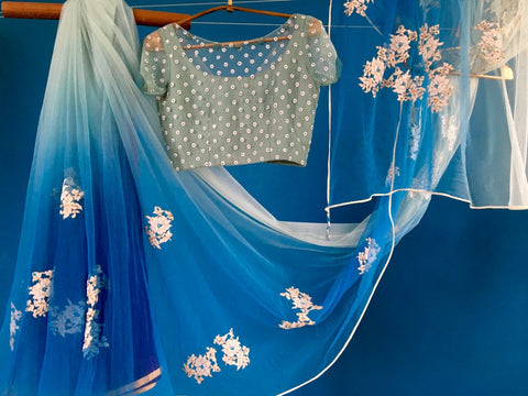 Ice Blue to Grey Shaded Net Saree with Grey Net Blouse
