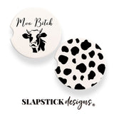Moo Bitch Cow Print Car Coasters