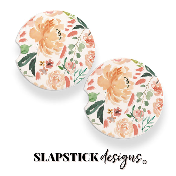 Watercolor Floral Car Coasters