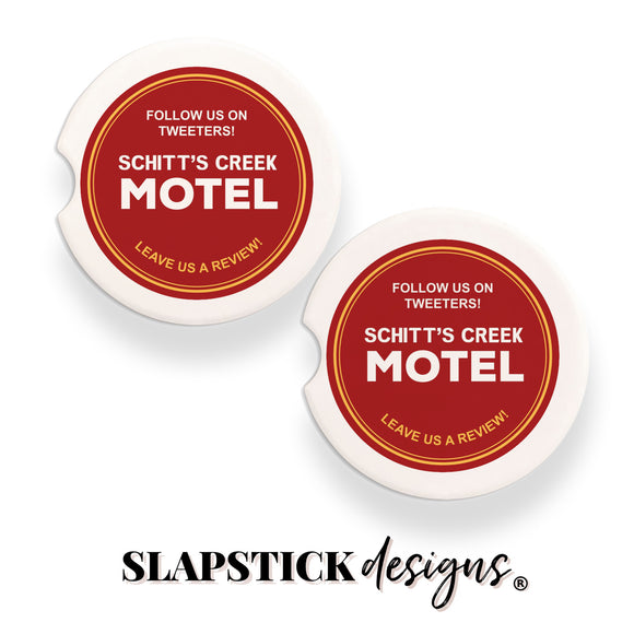 Follow Us On Tweeters! Schitt's Creek Motel Car Coasters