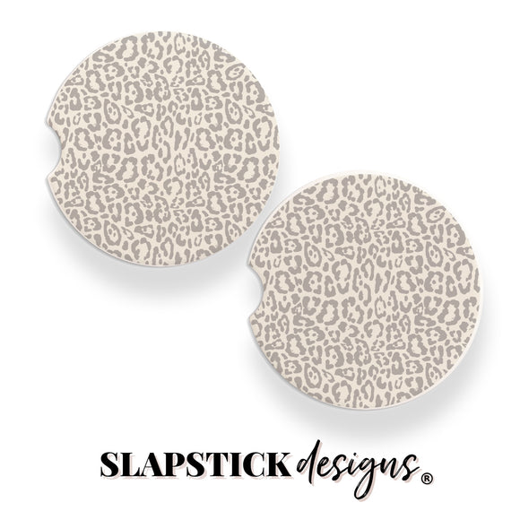 Gray Busy Leopard Car Coasters