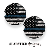 Blue Line Flag Law Enforcement Car Coasters
