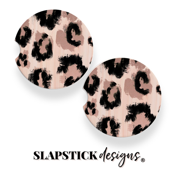 Pink Leopard Car Coasters