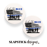 Back the Blue Law Enforcement Car Coasters