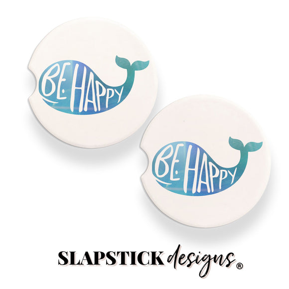 Be Happy Whale Car Coasters