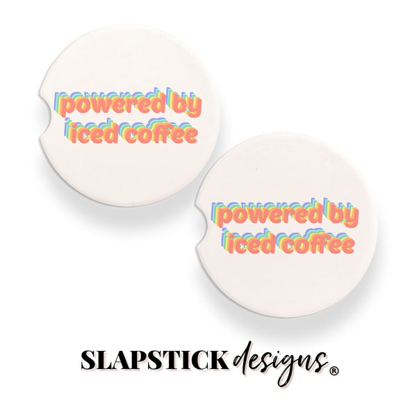 Powered by Ice Coffee Car Coasters