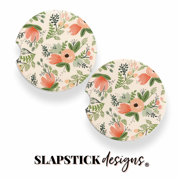 Poppies and Stems Car Coasters