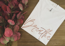 Load image into Gallery viewer, Breathe Rose Gold Womens V-neck Tee