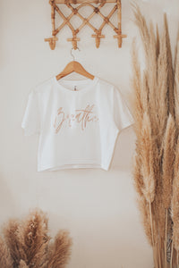 Breathe Rose Gold Womens Crop Tee
