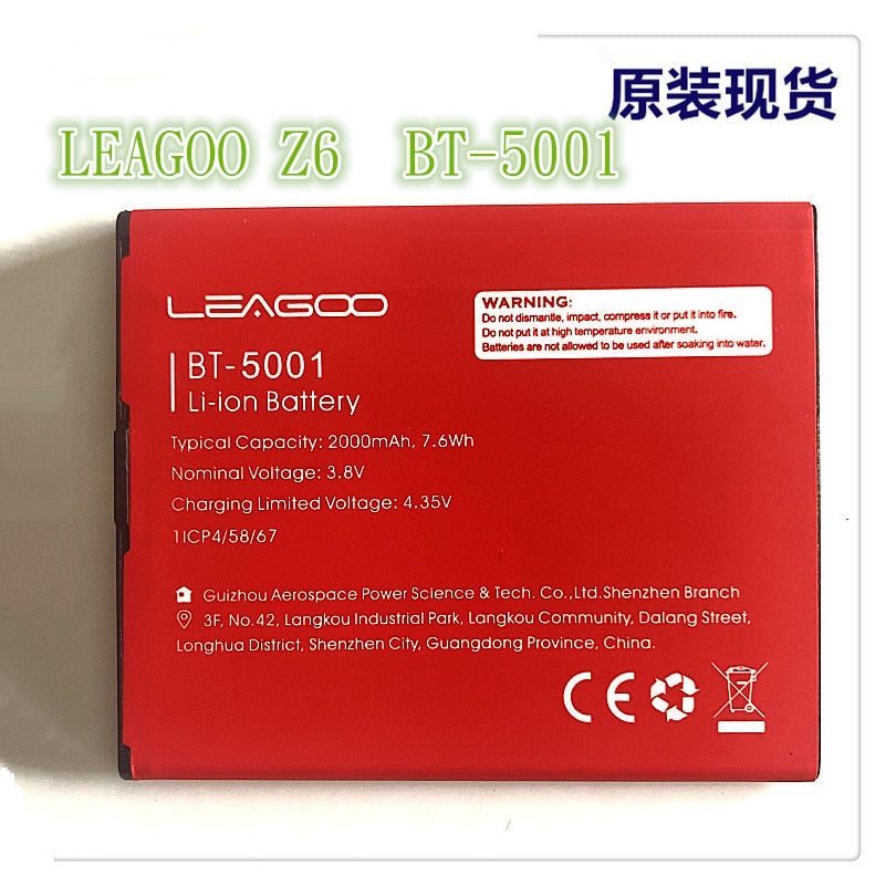 Mobile phone battery LEAGOO Z6 BT-5001 battery 2000mAh Long standby time High-quality LEAGOO Mobile Accessories