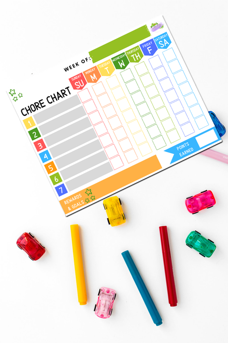 daily, weekly chore chart for kids with goals