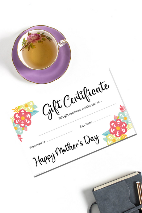 floral mother's day gift certificate printable