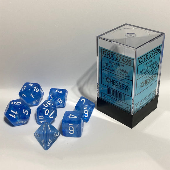 Chessex Borealis Sky Blue/White 7ct Polyhedral Set (27426)