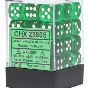 Chessex 12mm Translucent Green/White 36ct D6 Set (23805)