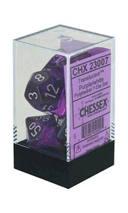 Chessex Translucent Purple/White 7ct Polyhedral Set (23007)