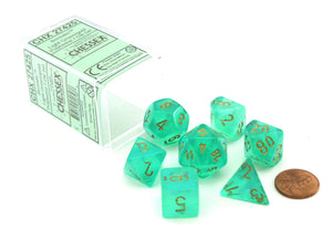 Chessex Borealis Light Green/Gold 7ct Polyhedral Set (27425)