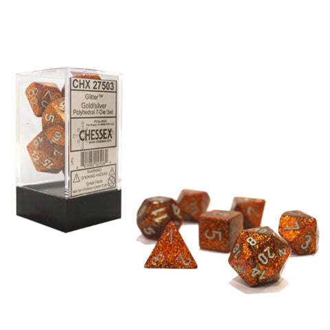 Chessex Glitter Gold/Silver 7ct Polyhedral Set (27503)