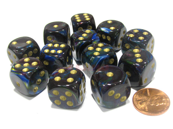 Chessex 16mm Lustrous Shadow/Gold 12ct D6 Set (27699)