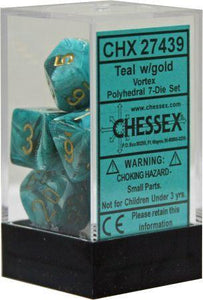 Chessex Vortex Teal/Gold 7ct Polyhedral Set (27439)
