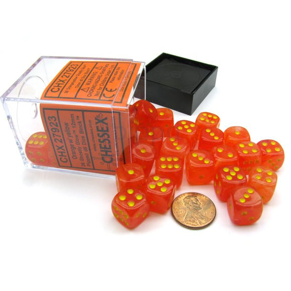 Chessex 12mm Ghostly Glow Orange/Yellow 36ct D6 Set (27923)