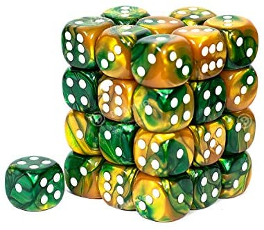 Chessex 12mm Gemini Gold Green/White 36ct D6 Set (26825)