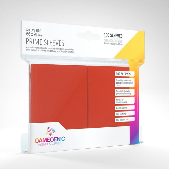 Gamegenic 100ct Standard Size Card Sleeves Prime Red