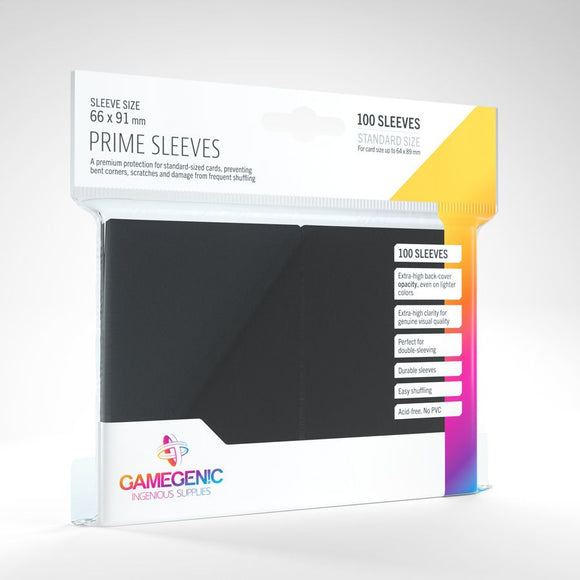 Gamegenic 100ct Standard Size Card Sleeves Prime Black
