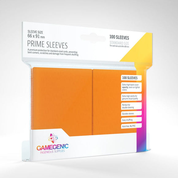 Gamegenic 100ct Standard Size Card Sleeves Prime Orange