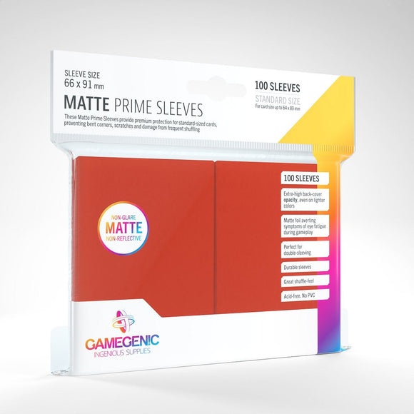 Gamegenic 100ct Standard Size Card Sleeves Matte Prime Red