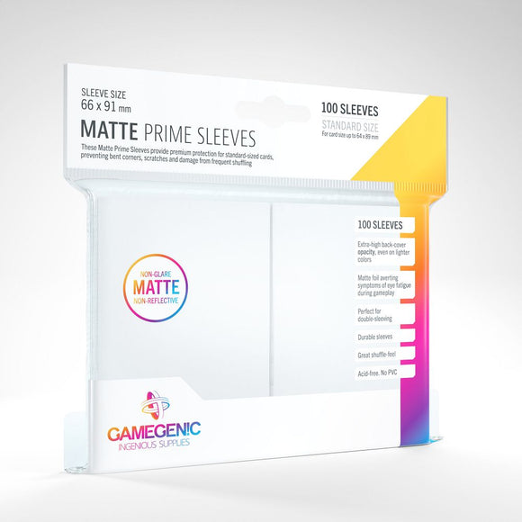 Gamegenic 100ct Standard Size Card Sleeves Matte Prime White