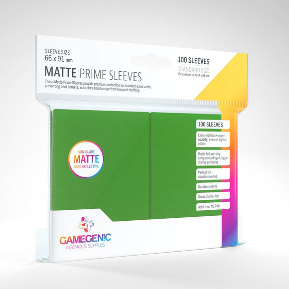Gamegenic 100ct Standard Size Card Sleeves Matte Prime Green