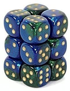 Chessex 16mm Gemini Blue Green/Gold 12ct D6 Set (26636)