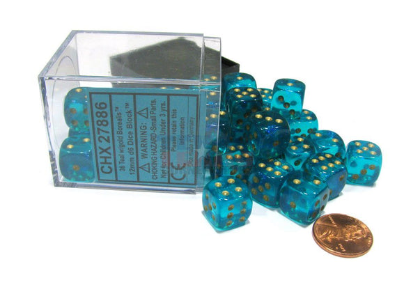 Chessex 12mm Borealis Teal/Gold 36ct D6 Set (27886)