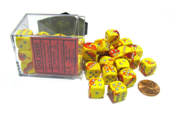 Chessex 12mm Gemini Red Yellow/Silver 36ct D6 Set (26850)