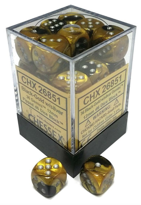 Chessex 12mm Gemini Black Gold/Silver 36ct D6 Set (26851)
