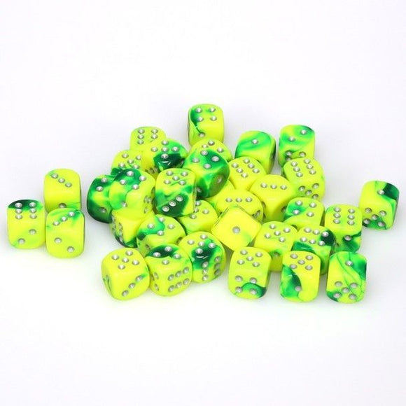 Chessex 12mm Gemini Green Yellow/Silver 36ct D6 Set (26854)