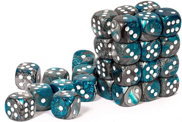 Chessex 12mm Gemini Steel Teal/White 36ct D6 Set (26856)