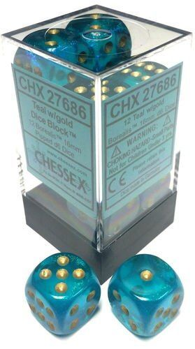 Chessex 16mm Borealis Teal/Gold 12ct D6 Set (27686)
