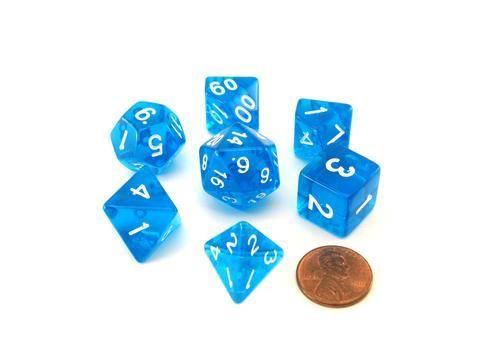 Pizza Dungeon Dice 7ct Polyhedral Set - Lucky Clear Blue (19015)