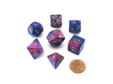 Pizza Dungeon Dice 7ct Polyhedral Set - Dual Purple/Blue (19015)