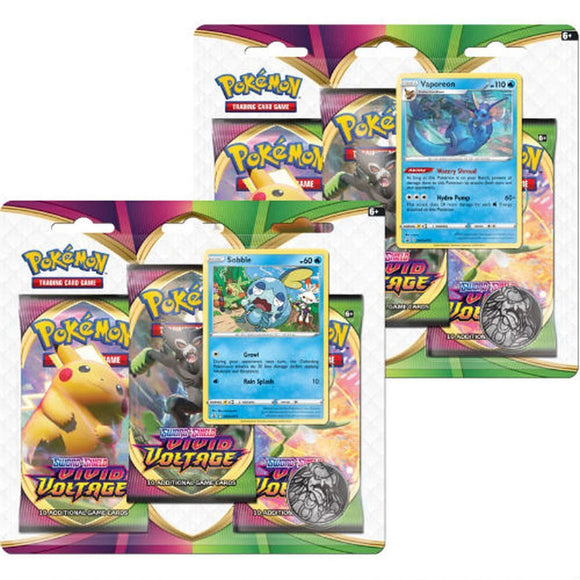 Pokemon TCG Sword & Shield Vivid Voltage 3 Pack Blister