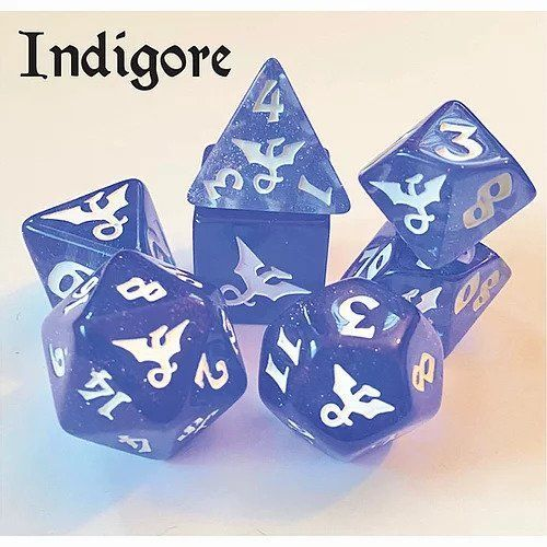 Black Oak Workshop Glitterwing Indigore 7ct Polyhedral Dice Set